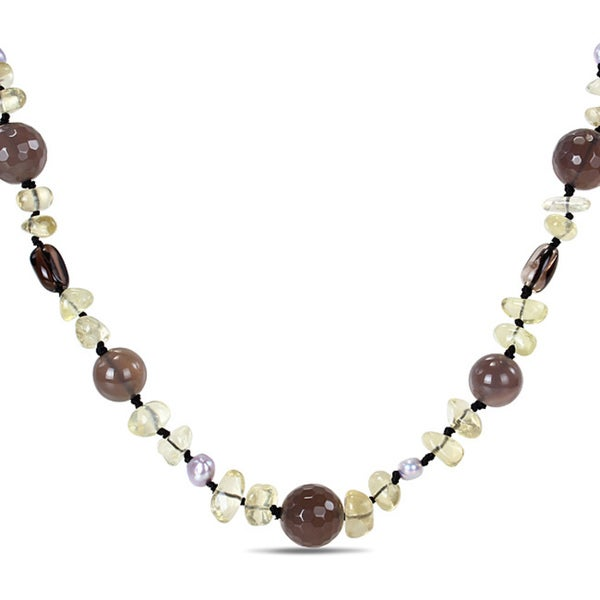 Catherine Catherine Malandrino Grey Agate, Lemon Quartz and Grey FW Pearl 32-inch Necklace (4-5 mm)