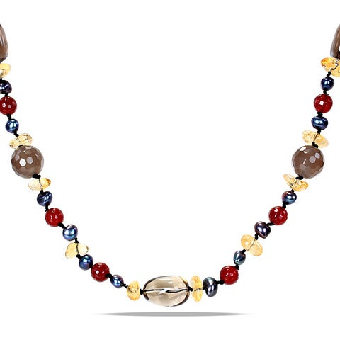 Miadora Agate Quartz and Black FW Pearl 34-inch Necklace (5-6 mm)