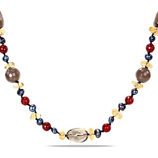 Miadora Agate Quartz and Black FW Pearl 34-inch Necklace (5-6 mm)