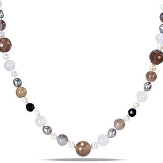 M by Miadora White Freshwater Pearl and Multi-colored Agate Bead Necklace (8-9 mm)