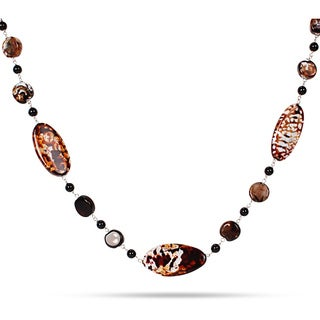 Miadora Animal Print Agate and Onyx Bead 28-inch Necklace