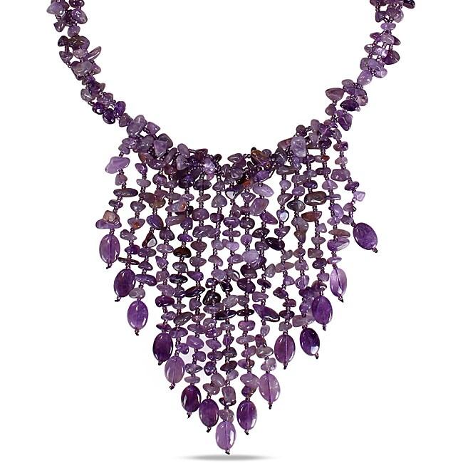 650ct TGW Purple Agate and Amethyst 30-inch Bib Necklace