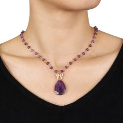 Miadora Goldplated Silver 34ct TGW Amethyst Bead 18-inch Necklace - Thumbnail 2