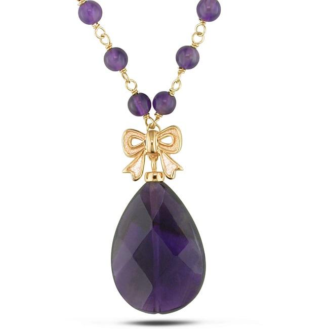 Miadora Goldplated Silver 34ct TGW Amethyst Bead 18-inch Necklace - Thumbnail 0