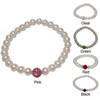 Pearlyta Freshwater Pearl and Crystal Bead Stretch Bracelet (6-7 mm)