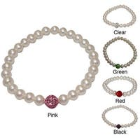 Pearlyta Freshwater Pearl and Crystal Bead Stretch Bracelet (6-7 mm) - White