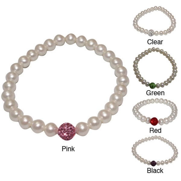 Pearlyta Freshwater Pearl and Crystal Bead Stretch Bracelet (6-7 mm) - Red
