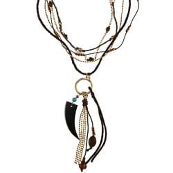 Goldtone Glass Bead 'Zarayetzi' Multi-strand Tassel Necklace
