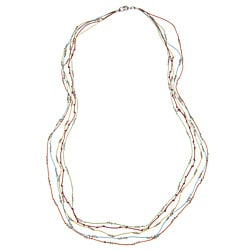 Silvertone Bead and Colored Cotton Cord 'Jamie' Multi-strand Necklace