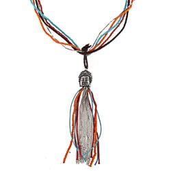 Goldtone Glass Bead 'Tylanni' Buddha Head Tassel Necklace