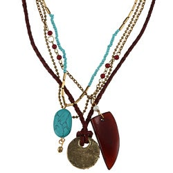 Goldtone Glass Bead 'Stephanie' Multi-strand Necklace
