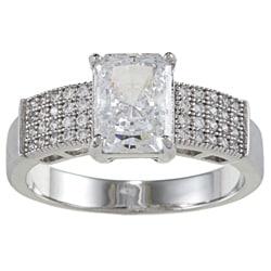 La Preciosa Sterling Silver Clear Emerald-cut Cubic Zirconia Engagement-style Ring