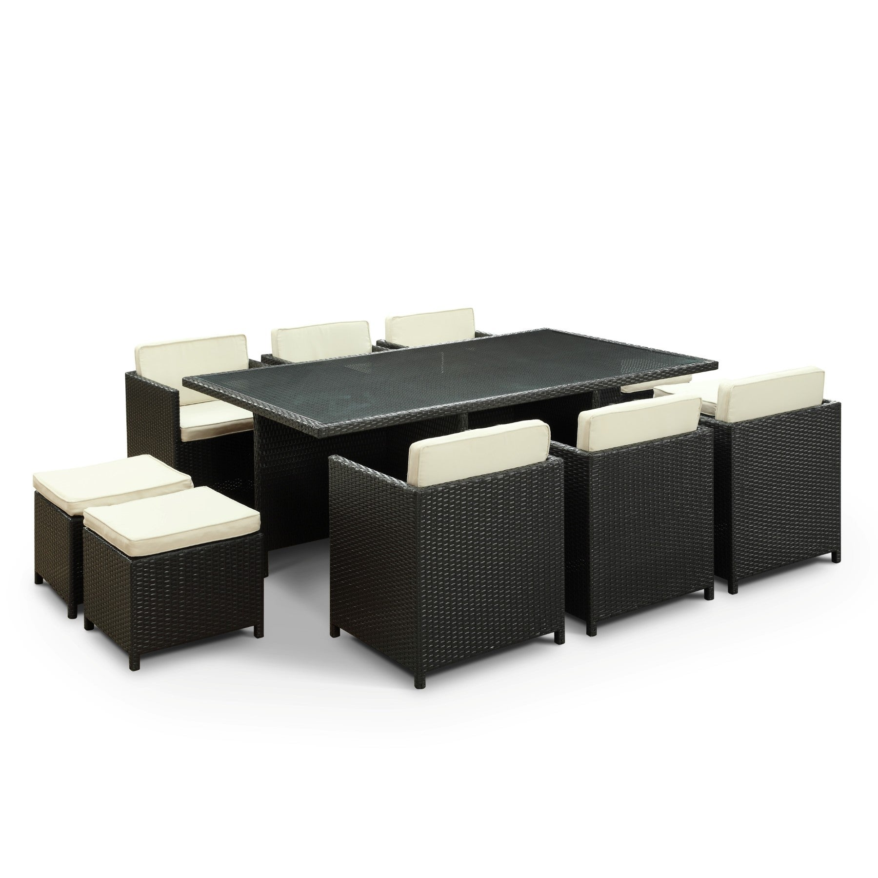 Evo Outdoor 11-piece Dining Set in Espresso with White Cushions (Red)