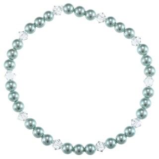 La Preciosa Children's 4-mm Shell Pearl and Crystal Stretch Bracelet