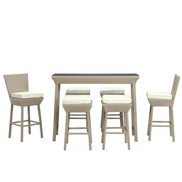 Napa Outdoor Rattan Pub Table and Stools 7-piece Set in Oatmeal with White Cushions