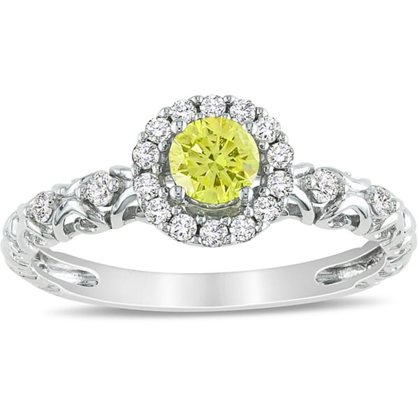 Miadora 14k White Gold 1/2ct TDW Yellow and White Diamond Halo Ring (H-I, I1-I2)