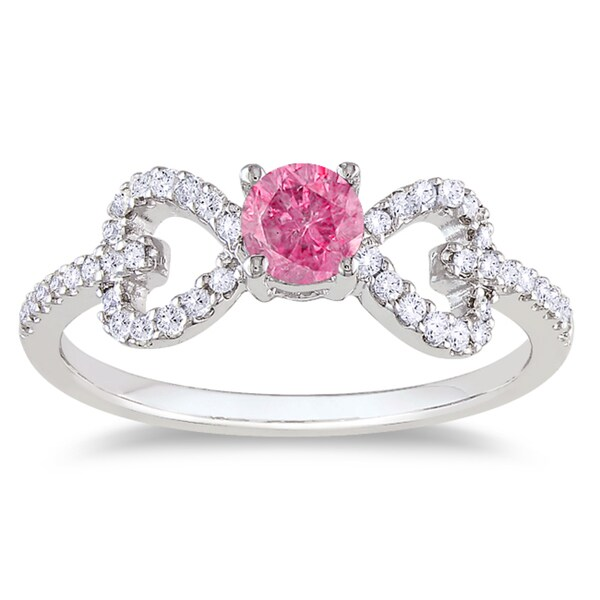 Miadora 14K White Gold 1/2Ct TDW Round-cut Prong-set Pink and White Diamond Ring