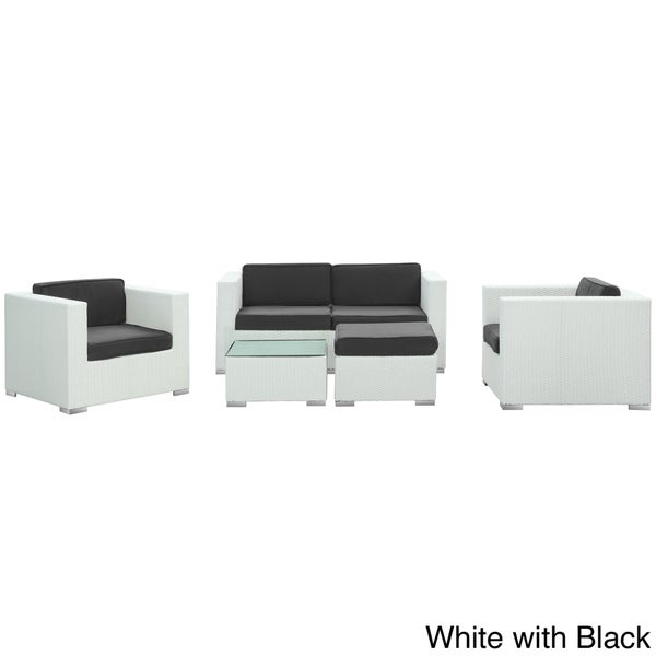 Malibu Outdoor Rattan 5-piece Set in White with Black Cushions