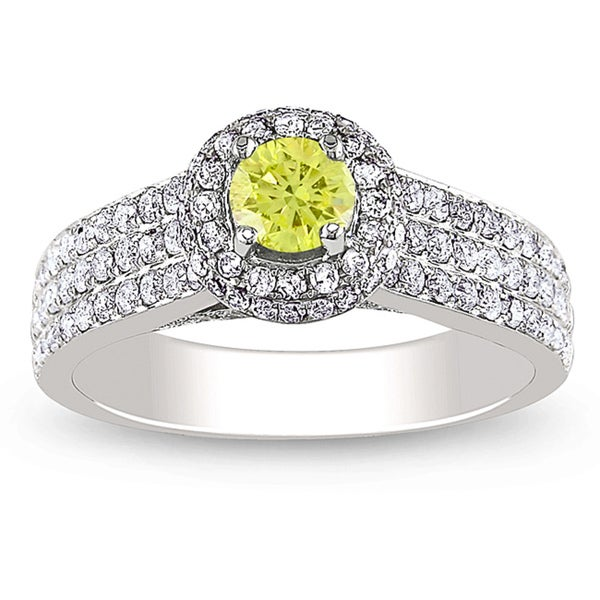 Miadora 14k White Gold 1ct TDW Yellow and White Diamond Halo Ring