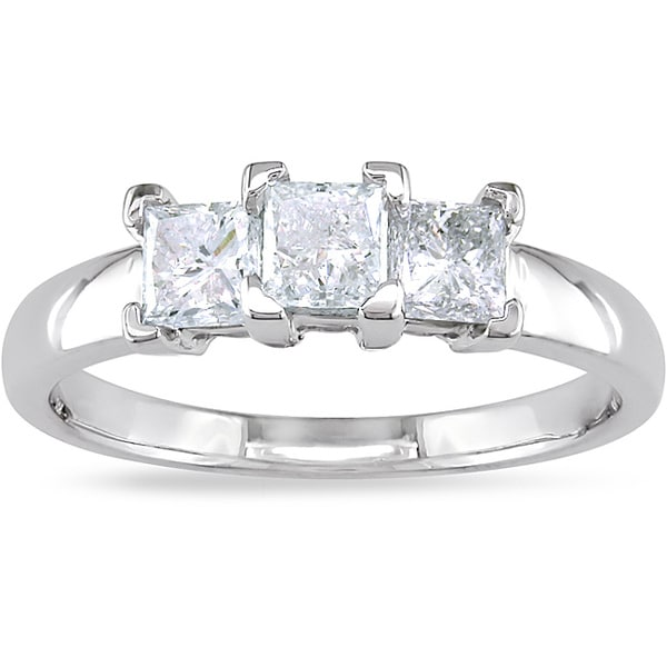 Miadora Signature Collection 14k Gold 1ct TDW Princess-cut Diamond 3-stone Ring (G-H, I2-I3)