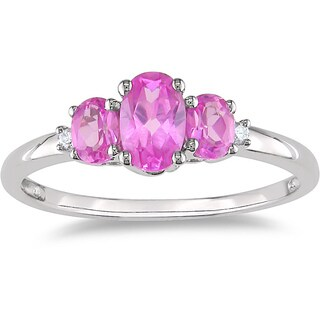 Miadora 10k Gold 1 1/4ct TGW Created Pink Sapphire and Diamond Accent Ring (More options available)