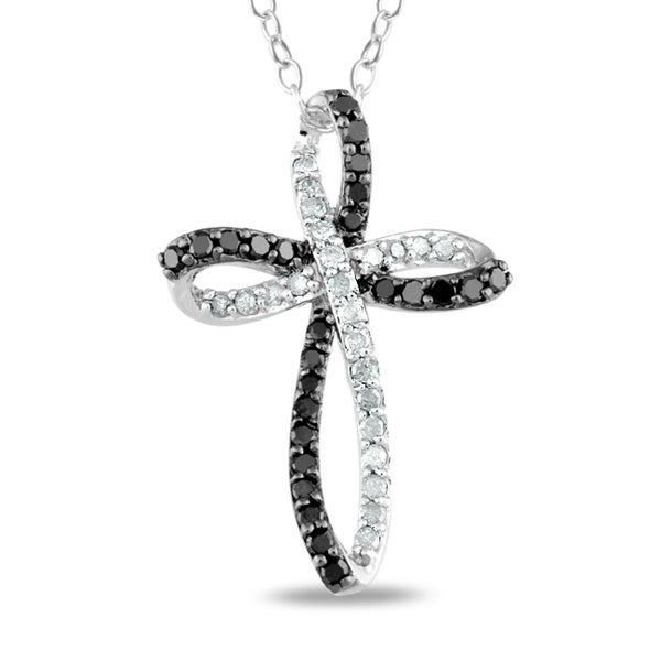 Miadora Sterling Silver 1/4ct TDW Black and White Diamond Cross Necklace