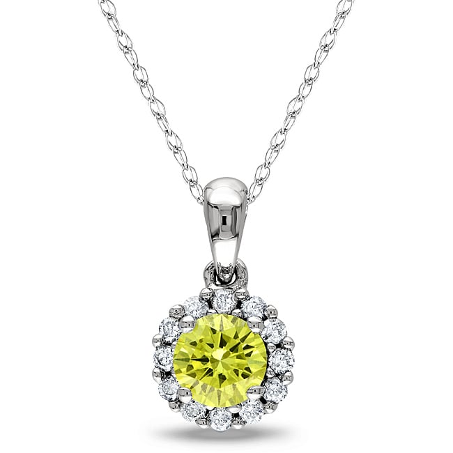 Miadora 10k White Gold 1/2ct TDW Yellow and White Diamond Halo Necklace (H-I, I1-I2)