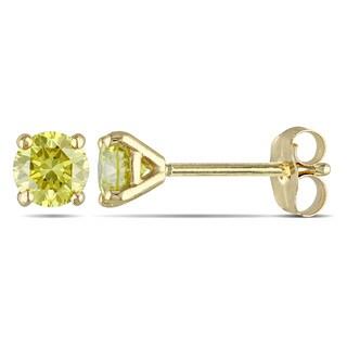 Miadora 14k Yellow Gold 1/2ct TDW Yellow Diamond Solitaire Earrings
