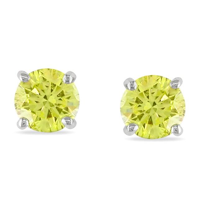 Miadora 14k White Gold 1ct TDW Yellow Diamond Solitaire Earrings