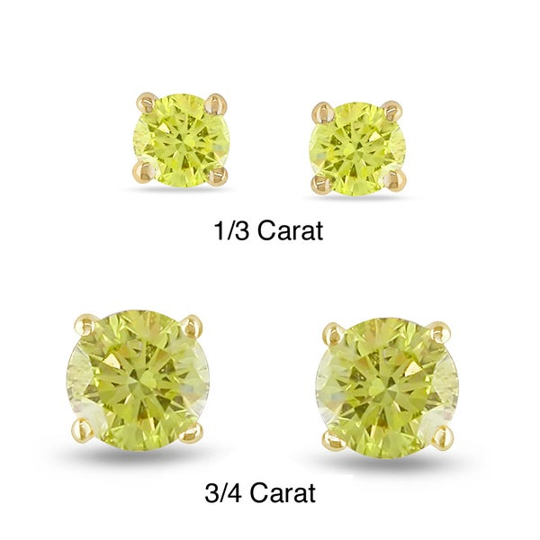 Miadora 14k Yellow Gold 1/3ct TDW Yellow Diamond Solitaire Earrings