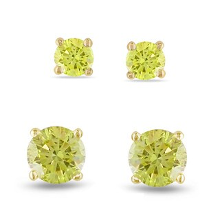 Miadora 14k Yellow Gold 1/3ct TDW Yellow Diamond Solitaire Earrings