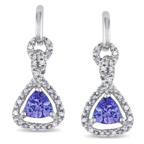 Miadora 10k White Gold Tanzanite and 1/10ct Diamond Earrings (H-I, I2-I3)