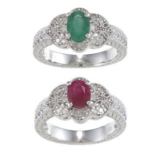 Viducci Sterling Silver Vintage Style Ruby, Emerald and Diamond Ring (1/5 TDW)