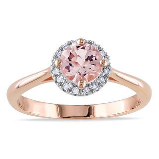Miadora 10k Pink Gold 4/5ct TGW Morganite and 1/10ct TDW Diamond Ring