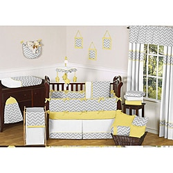 Sweet Jojo Designs Grey and Yellow Zig Zag 9-piece Crib Bedding Set