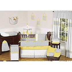 Sweet Jojo Designs Grey and Yellow Zig Zag 9-piece Crib Bedding Set