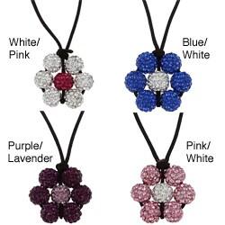 La Preciosa Crystal Bead Flower Adjustable Black Cord Necklace