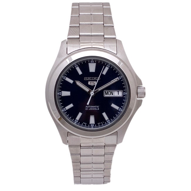 Seiko Men's 5 Automatic SNKL07K Silver Stainless-Steel Automatic Watch with Blue Dial