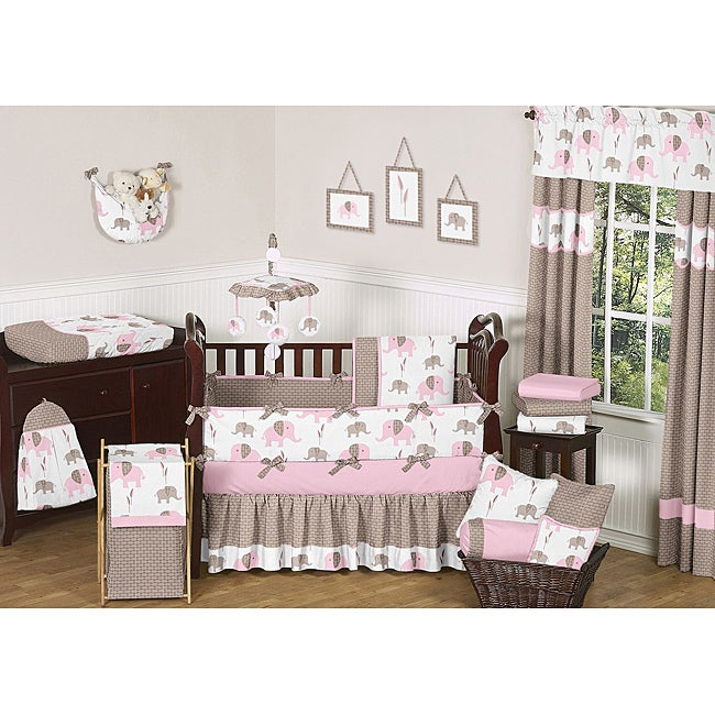 Sweet Jojo Designs Pink Mod Elephant 9 Piece Crib Bedding Set