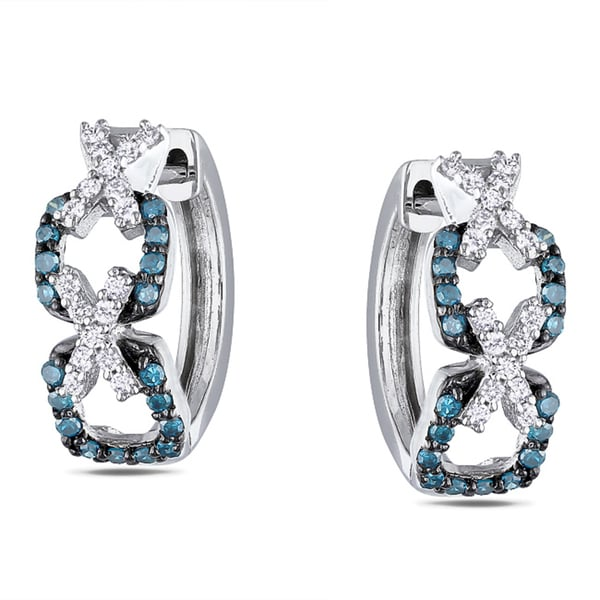 Miadora Sterling Silver 1/3ct Blue and White Diamond endless Earrings