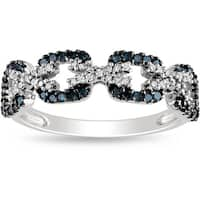 Miadora Sterling Silver Blue and White Diamond Ring