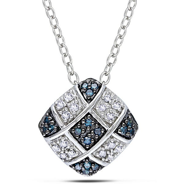 Miadora Sterling Silver 1/6ct TDW Blue and White Diamond Pendant (G-H, I2-I3)