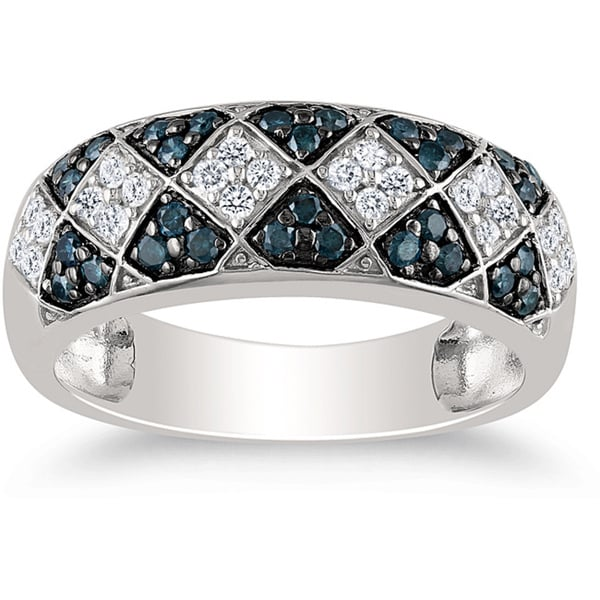Miadora Sterling Silver 1/2ct TDW Blue-and-white Round Diamond Ring