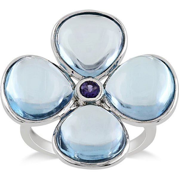 Miadora Sterling Silver 12ct TGW Blue Topaz and Lolite Flower Ring