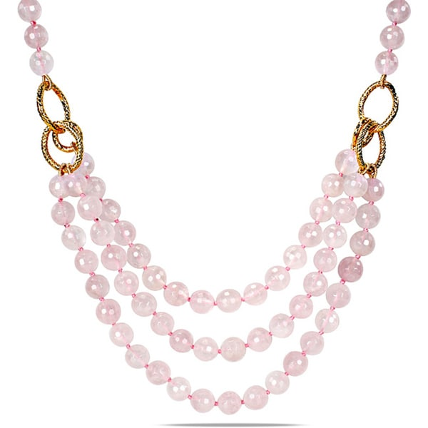 "M by Miadora 600ct TGW Rose Quartz Three-strand Necklace (18"")"
