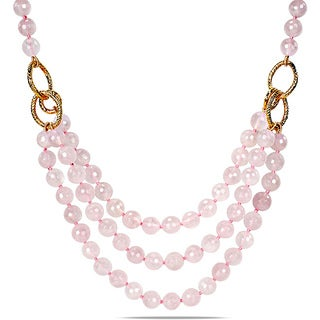 "Miadora 600ct TGW Rose Quartz Three-strand Necklace (18"")"
