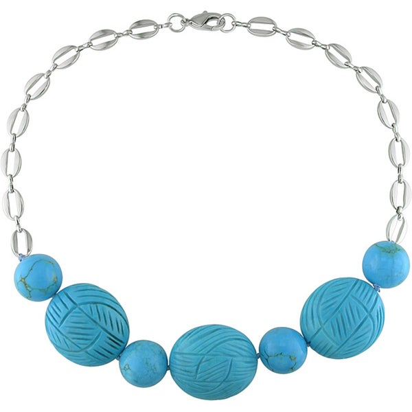 Miadora Turquoise Bead Fashion Necklace (18-inch)