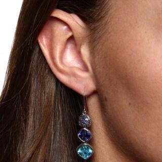 La Preciosa Sterling Silver Colored Cubic Zirconia Dangle Earrings