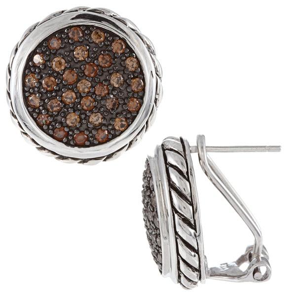 La Preciosa Black-plated Silver Champagne Cubic Zirconia Earrings