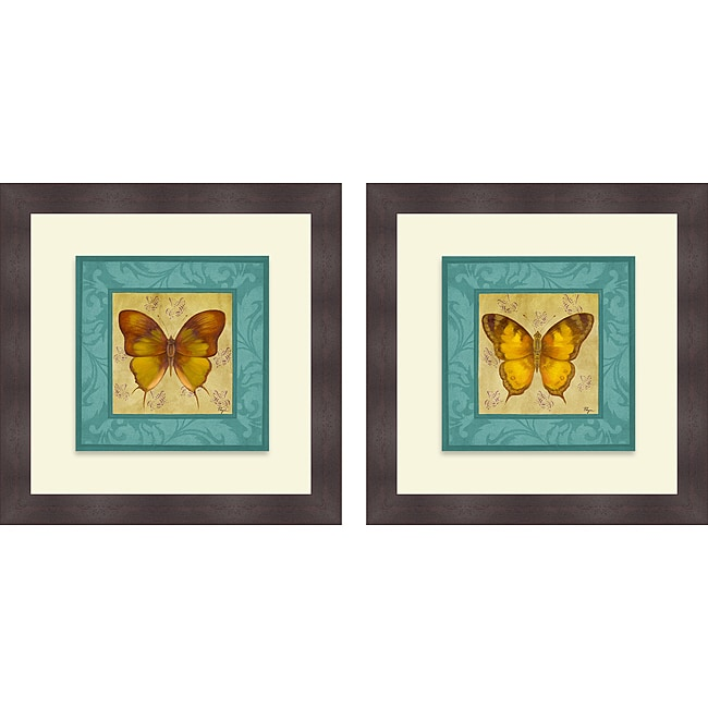 Vivien Rhyan 'Colorful Wings Square I & II' Framed Print